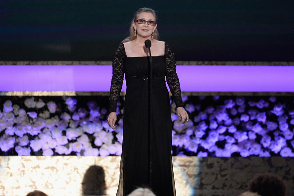 <br/>CARRIE FISHER <br/>presenting mother Debbie Reynolds the Life Achievement Award <br/>2015 SAG Awards <br/>Hollywood, CA <br/>January 25, 2015