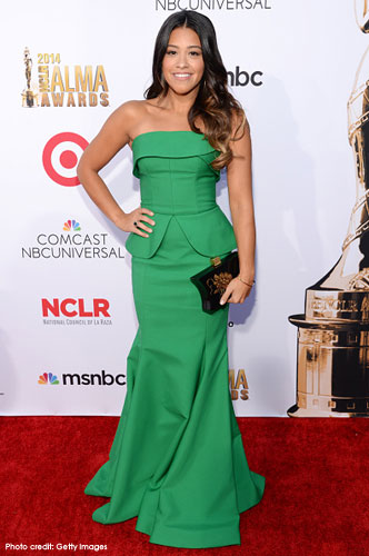 GINA RODRIGUEZ <br/>Green crepe de chine mermaid gown <br/>2014 ALMA Awards <br/>Hollywood, California <br/>October 10, 2014