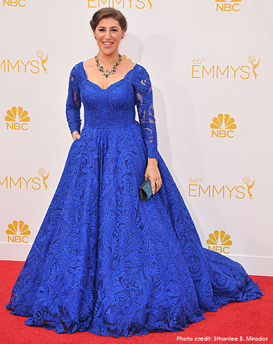 MAYIM BIALIK <br/>Outstanding Supporting Actress  <br/>in a Comedy Series nominee <br/>in a royal blue embroidered ball gown <br/>66th Annual Primetime EMMY Awards <br/>Los Angeles, California <br/>August 25, 2014