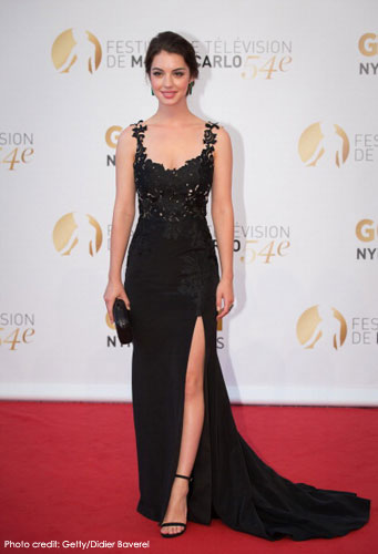 ADELAIDE KANE (star of Reign) <br/>in a black crepe de chine & embroidered gown <br/>2014 MONTE CARLO TV FESTIVAL closing ceremonies <br/>Monte Carlo, Monaco <br/>June 11, 2014