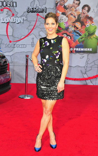<br/>CANDACE CAMERON-BURE <br/>in printed silk organza dress with  octagon <br/>organza cut-outs hand-sewn on skirt <br/>Muppets Most Wanted movie premiere <br/>Hollywood, California <br/>March 11, 2014
