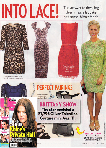 Brittany Snow in lace  <br/>US Weekly <br/>September 23, 2013 issue