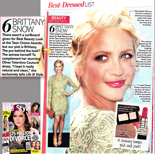 BRITTANY SNOW <br/>'Best Dressed List' <br/>Life & Style Weekly magazine <br/>Sept 2, 2013 issue