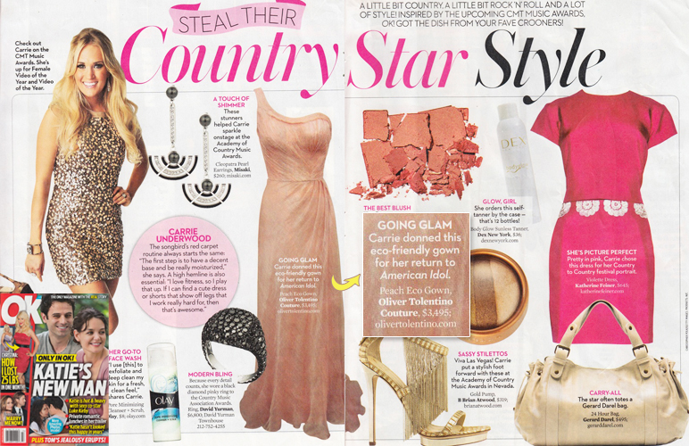 Carrie Underwood's peach eco piña gown <br/>OK! Magazine <br/>June 10, 2013