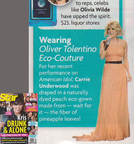 CARRIE UNDERWOOD   <br/>Piña eco gown from American Idol performance  <br/>Star magazine  <br/>April 22, 2013