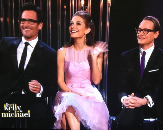 MARIA MENOUNOS in a <br/>1950's-inspired pink cocktail dress <br/>for the 'Live With Kelly & Michael' <br/>post-Oscars show <br/>Hollywood, California <br/>February 25, 2013