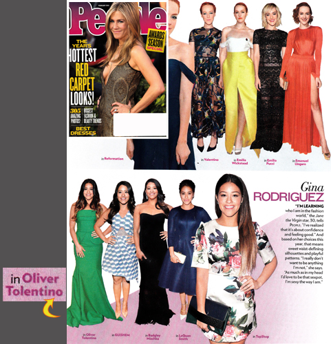 GINA RODRIGUEZ (Jane the Virgin) <br/>in a green Oliver Tolentino gown <br/>PEOPLE magazine <br/>February 2015 (Awards Season Special issue)
