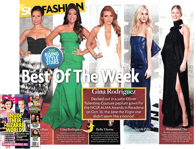 GINA RODRIGUEZ <br/>2015 Rising Style Star in 'Best of the Week' <br/>STAR magazine <br/>January 12, 2015 issue