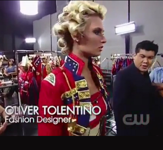 Screen grab of AMERICA'S NEXT TOP MODEL<br/>(British Invasion): featuring Oliver's outfits<br/>in the premiere episode of Cycle 18, <br/> February 29, 2012 on the CW Network.