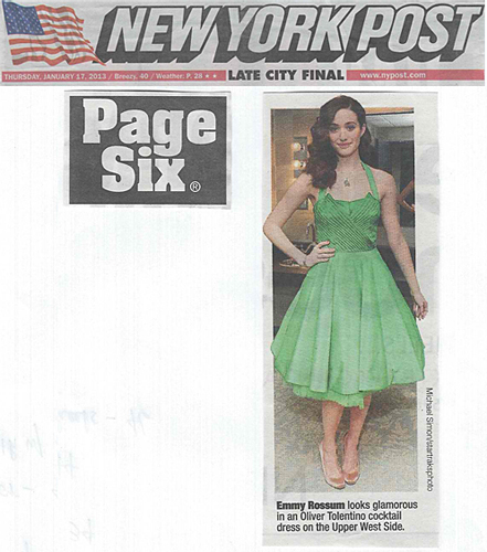 Emmy Rossum <br/>New York Post <br/>Page Six <br/>January 17, 2013