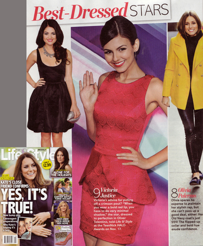 Victoria Justice<br/> 'Best-Dressed Stars'<br/>LIFE & STYLE Weekly<br/>Dec 10, 2012 issue