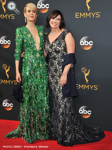 <br/>MARCIA CLARK (with Emmy winner Sarah Paulson) <br/>People v OJ Simpson miniseries <br/>68th Annual Primetime Emmy Awards <br/>Hollywood, California <br/>September 18, 2016